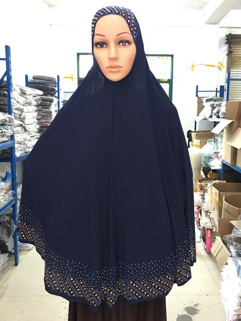 H1128 new design big size muslim hijab with gold stones and crystals big size pray hijab