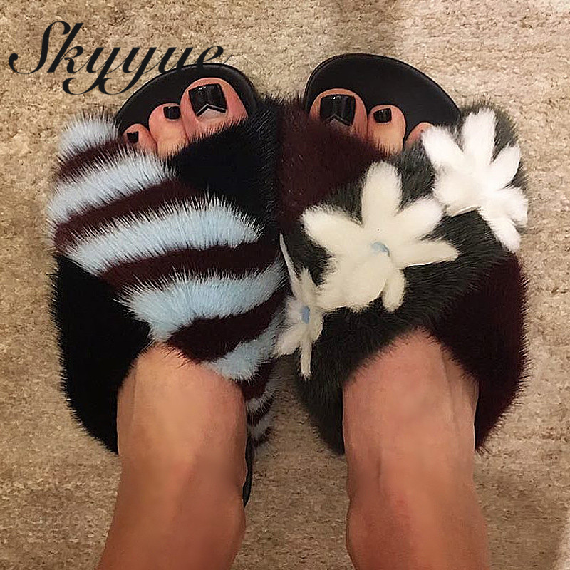 SKYYUE New Real Fur Women Slippers Floral Slip On Women Winter Slippers Mules Shoes Women simple satin and floral print design slippers for women