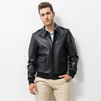 Men's Leather Jacket Casual Outfit Brown Leather A-2 Bomber Flight Jacket Aviator Vintage Jacket TJ18