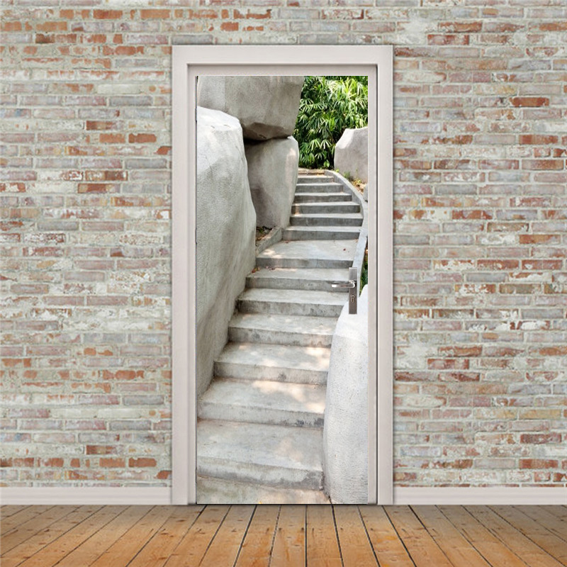 Wall Stickers Free Shipping Mountain Stone Stairs Wall Stickers Diy Mural Bedroom Home Decor Poster Pvc Waterproof Door Sticker 77x200cm High Resilience