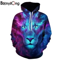 BIANYILONG New Fashion Men Women 3d Sweatshirts Print Paisley Flowers Lion Hoodies Autumn Winter Thin Hooded