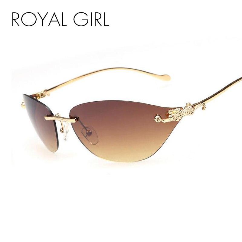 771257b91a6 ROYAL GIRL Rimless Cat Eye Sunglasses Women Fashion Glasses Women Brand  Designer Goggles Sun Glasses Alloy Legs ss032