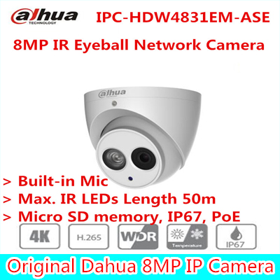 Original Dahua English version 8MP IR Eyeball Network Camera IPC-HDW4831EM-ASE Built-in Mic Free shipping
