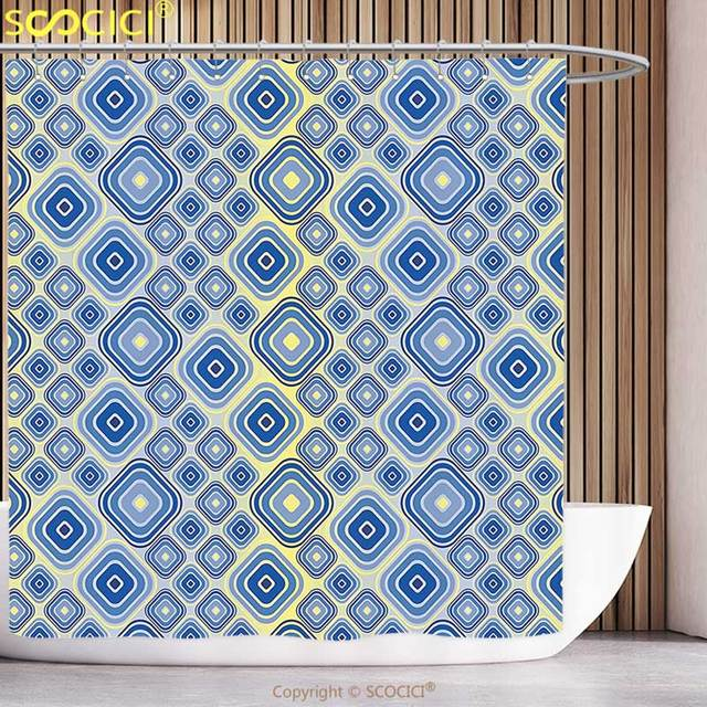 Cool Shower Curtain Trippy Geometric Inner Squares In Gradient Tones Retro Style Abstract Art Pattern Light Blue Yellow Bathroom