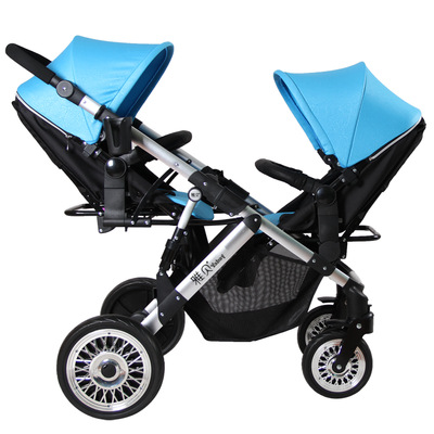 Babyfond baby stroller high landscape stroller two-way can sit lying lightweight folding stroller high quality twins stroller angelguard high landscape twins baby stroller can split ultra light umbrella can be two color twins baby stroller