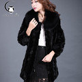 Winter Winter Europe and the United States women 's atmospheric casual jacket in the winter long black mink fur