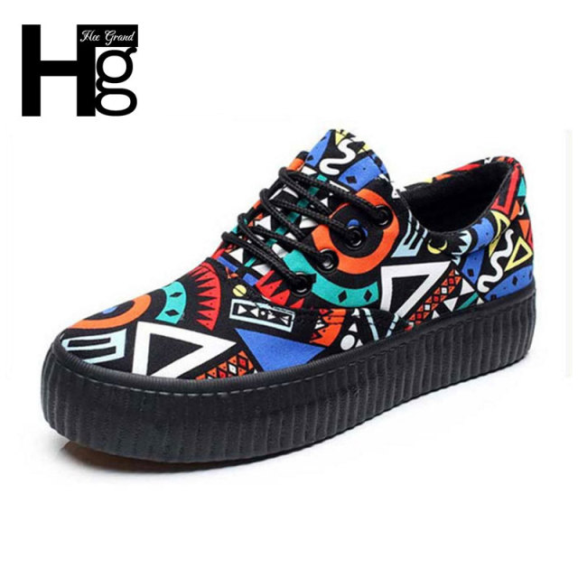 HEE GRAND 2017 Women's Canvas Shoes Colorful Graffiti Lace up Woman Platform Shoes Flat Footwear For Ladies XWF518