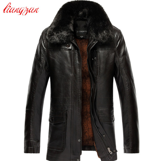 Men Leather Jacket Autumn Winter Plus Size XL-7XL Casual PU Leather Motorcycle Coats Male Brand Fur Collar Velvet Overcoat F2357