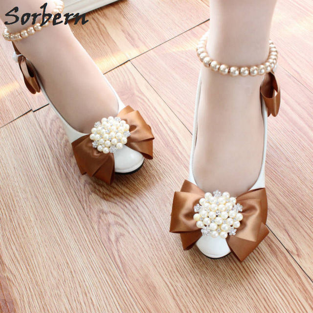 Sorbern Brown Bow White Wedding Shoes 8Cm High Heels Beaded Buckles Beading  Straps Platform Heeled Bridal Shoes Real Photos 7d6fba9fab14
