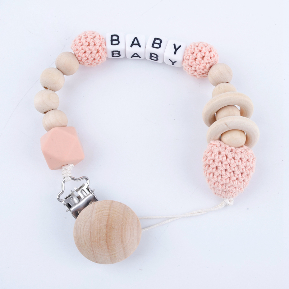 1PC Handmade Personalised Teether Clip Pink Cute Pacifier Chain Holder Wooden Crochet Beads Wood Newborn Teether Pacifier Clip