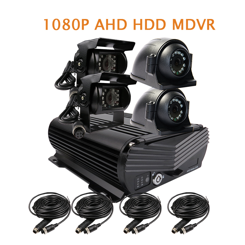 Free Shipping NEW 4 Channel H.264 1080P 2.0MP AHD 2TB HDD Hard Disk Car DVR MDVR Video Recorder Car Side Front Rear View Camera protector s1004v 4 ch h 264 hard disk digital video recorder w wired mouse black