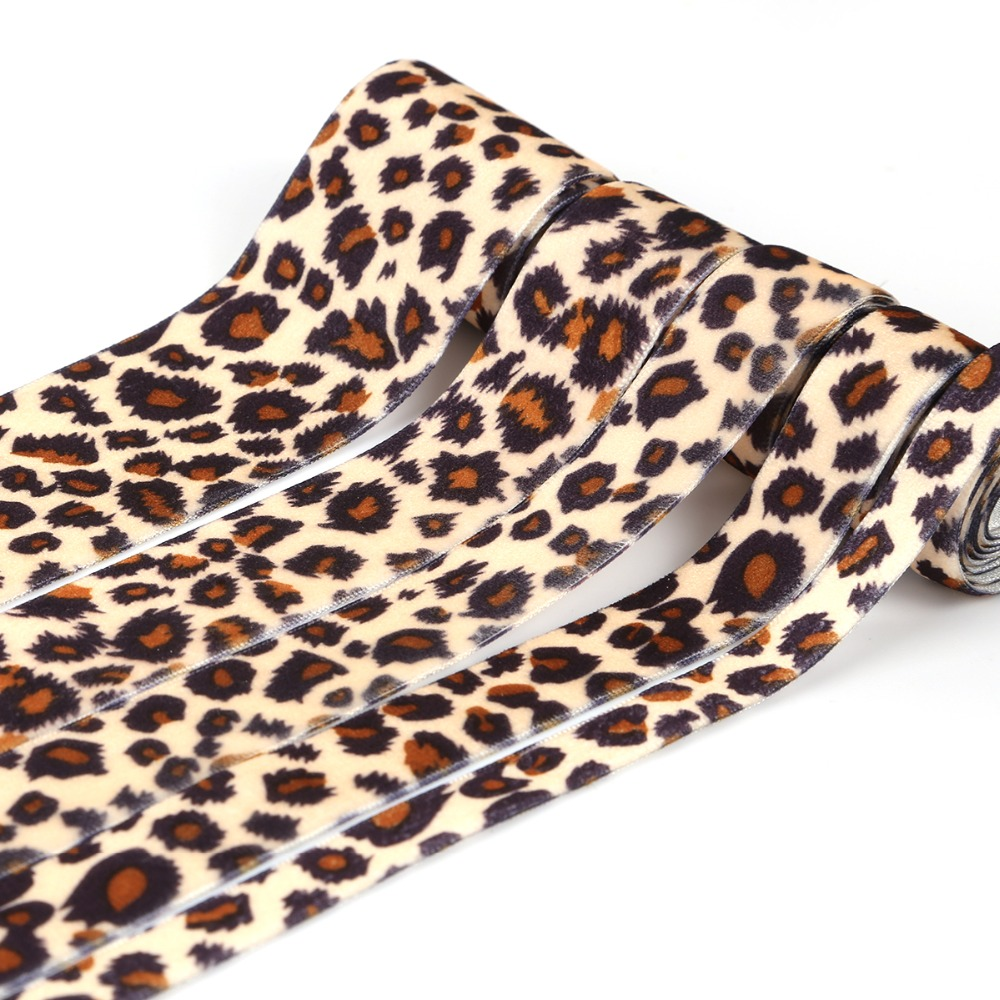1/1.6/2/2.5/3.8CM Leopard Ribbon 2 Yards Velvet Belt Party Embellishment Ribbon Sewing Clothing Bag Hair Decoration Accessories