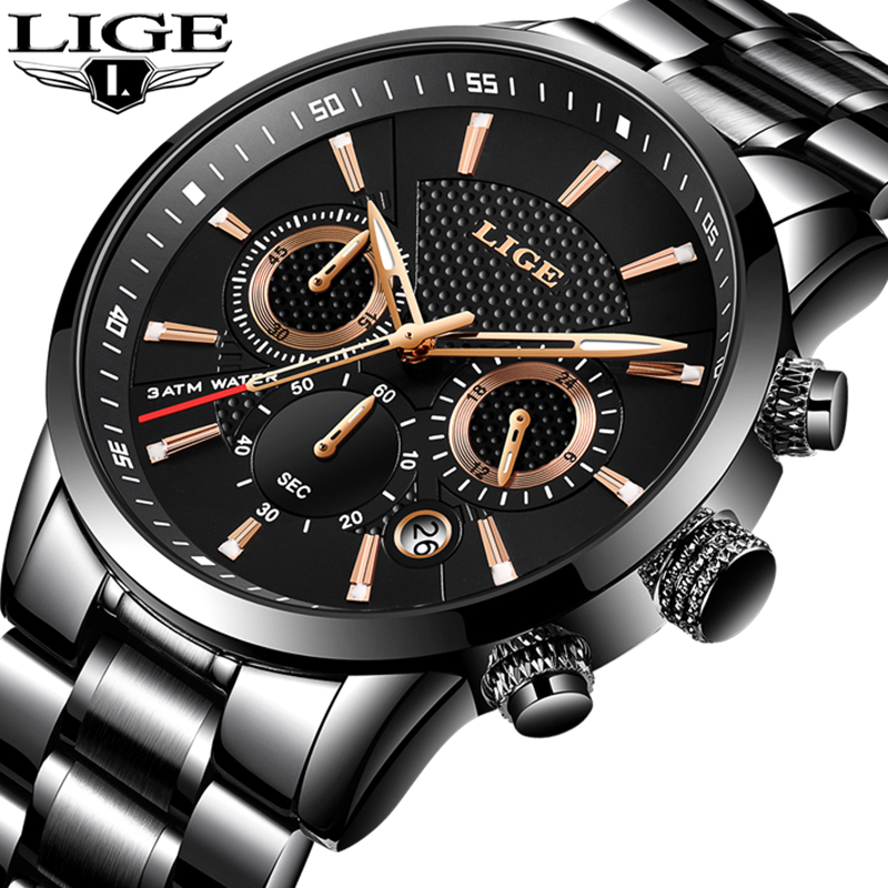LIGE Mens Watches Top Luxury Brand Chronograph Sport Watch Men Quartz Clock Male Full Steel Casual