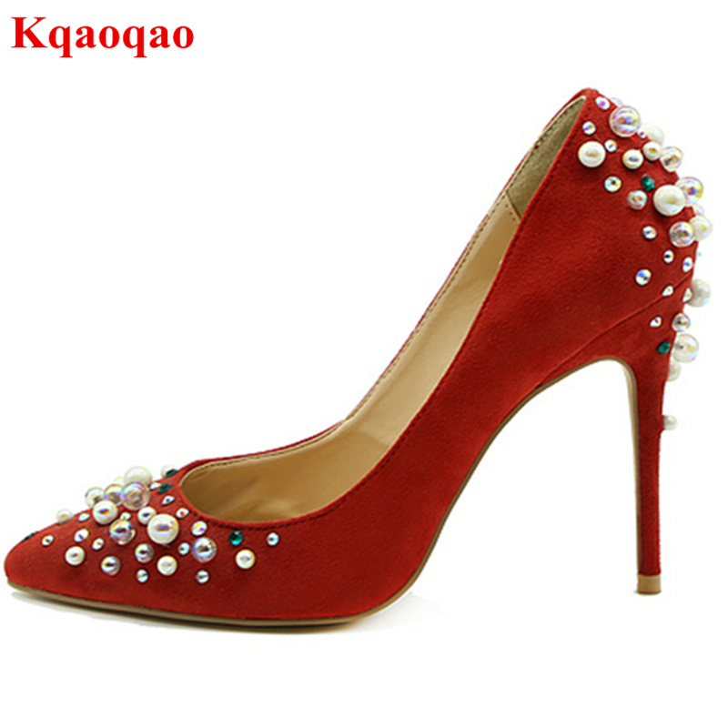 Pointed Toe High Thin Heel Stiletto Women Pumps Lady Girl Wedding Party Shoes Suede Chaussures Femmes Pearl Decor Brand Heels high quality suede wedding party dress shoes women pointed toe stiletto brand pumps bow fringe embellished high brands