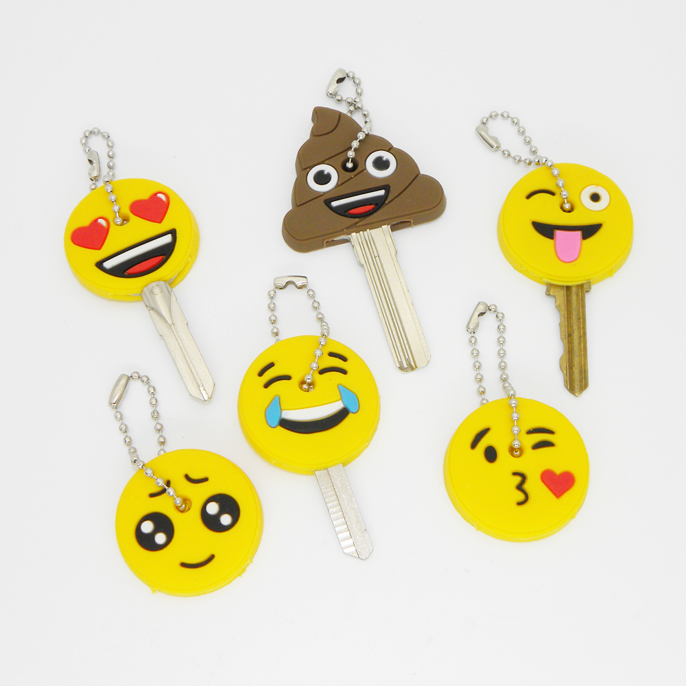 Amusing Emoticons Smile Key Cap Head Yellow Face Keychain Women Bag Charm Key Holder Key Chain Silicone Key Ring Stool Key Cover
