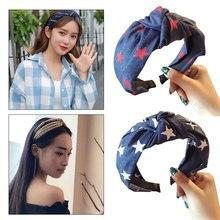 Denim Headband Twist Hairband Wide Blue Hair Accessories Vintage Woman Fashion 2019 Headwear Hoop