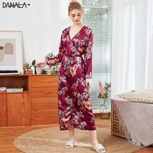 DANALA Women Sleepwear Robes Kimono Autumn Long Sleeve Floral Print Female Bathrobes Night Robe Home Clothes For