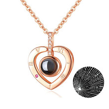 Moda biżuteria w kształcie serca kochanka naszyjnik z 100 język kocham cię ze stali nierdzewnej stalowy wisiorek prezent walentynkowy naszyjniki dla kobiet