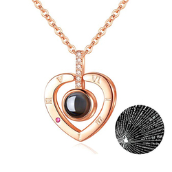 Fashion Heart Jewelry Lover Necklace With 100 Language I Love You Stainless Steel Pendant Valentine Day Gift Necklaces For Women