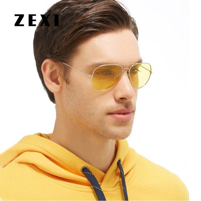 a927f21ddb477 ZEXI Homens Polarized Amarelo Óculos De Aviador Moldura de Ouro Óculos  Motorista Noite Óculos de Condução