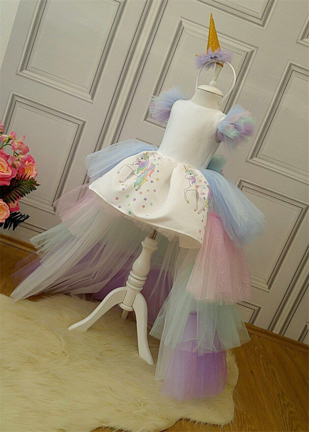 Christmas Girls Unicorn Dress with Long Tail + Wings Wig Hairband Baby Girl Princess Birthday Party Ball Gown Kids Horse Clothes 6