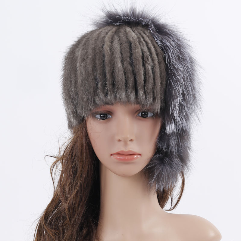 ФОТО 2017 Genuine Knitted Mink Fur Hat With Silver Fox Fur Pom Poms Beanies 2017 Winter Russia Style Women Real Fur Cap