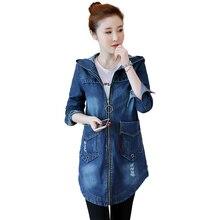 Frühling Koreanische Denim Jacke Frauen Dünnen Langen Basis Mantel frauen  Winter Mit Kapuze Blau Plus größe Jeans Jacken Mäntel . b3445524ec