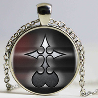 Kingdom Hearts Nobody Logo Art pendants necklace cabochon Black Chain Statement Necklace For Women