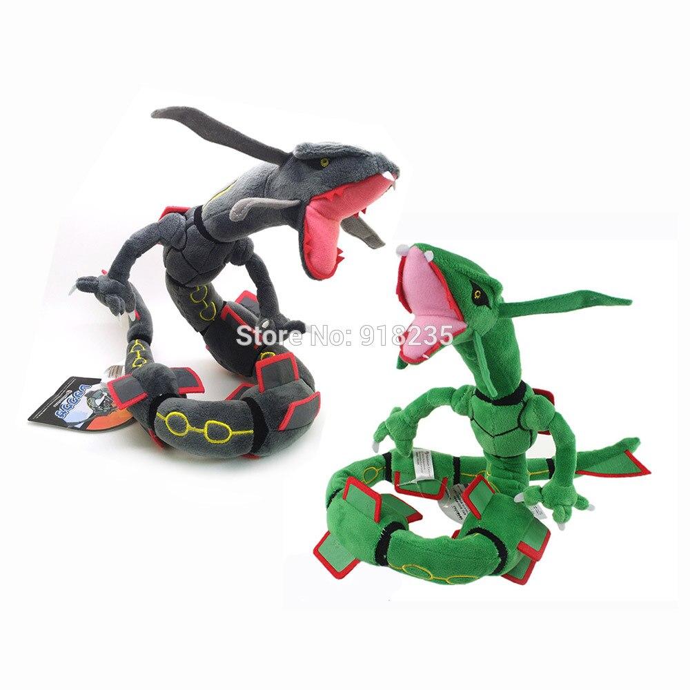 10/lote nuevo 78CM Verde Negro Rayquaza dragón peluche muñecas Anime suaves para los mejores regalos de juguete de peluche-in Cine y TV from Juguetes y pasatiempos    1