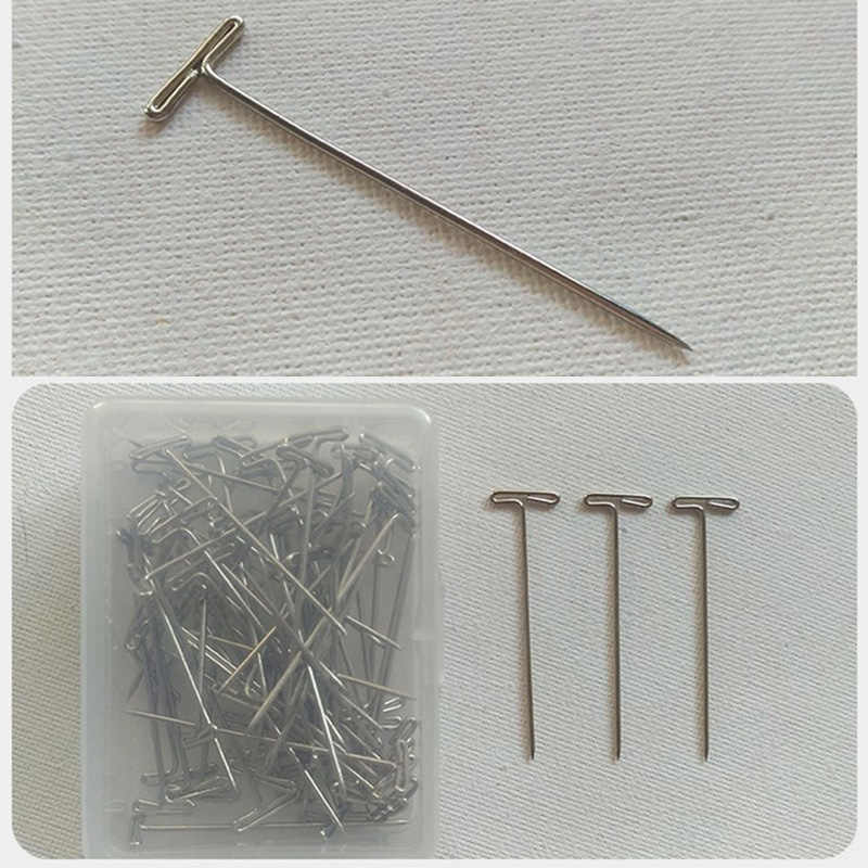 100pcs/lot T Pins Type Needle For Wig On Foam Head Style Brazilian Indian Mannequin Head Sewing Hair Salon Styling Tools