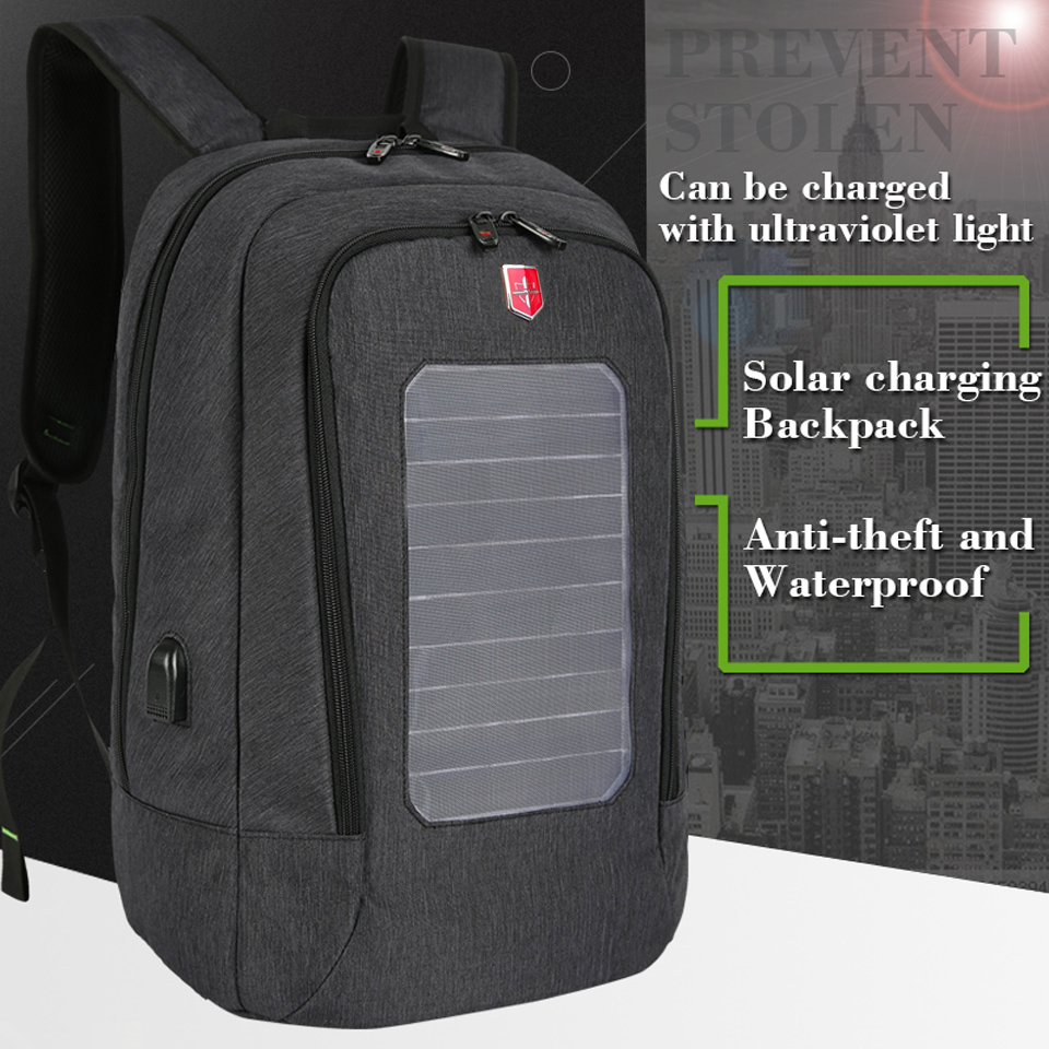 2018 New Swiss Solar Charging Backpack for Men Travel Business Backpacks 15 Inch Laptop Fashion School