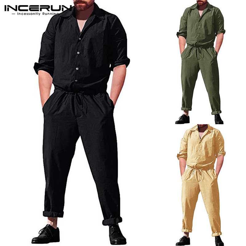 INCERUN 2020 Fashion Men Jumpsuit Overalls Pockets Long Sleeve Joggers Streetwear Button Loose Casual Pants Playsuit Men Rompers