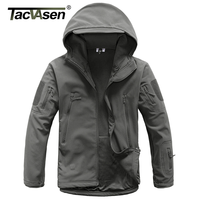 TACVASEN Army Camouflage Men Jacket Coat Military Tactical Jacket Soft Shell Waterproof Jacket Windproof Hunt Raincoat Outwear