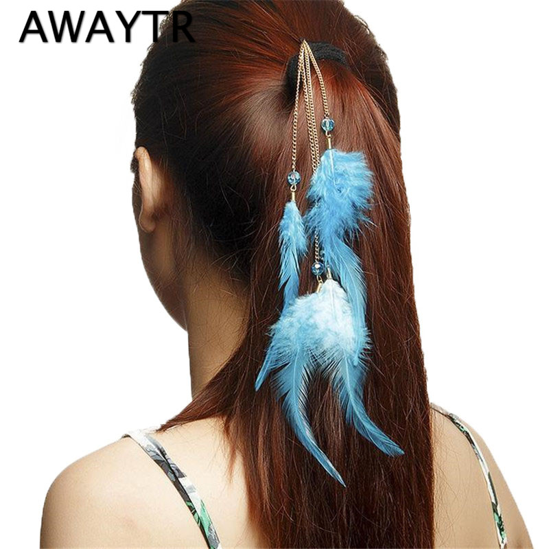 Long Feather Hair Clip Hairpin 2017 Hair Extension Feathers Hair Accessories Fashion Black Feather Clip In Hair Extension
