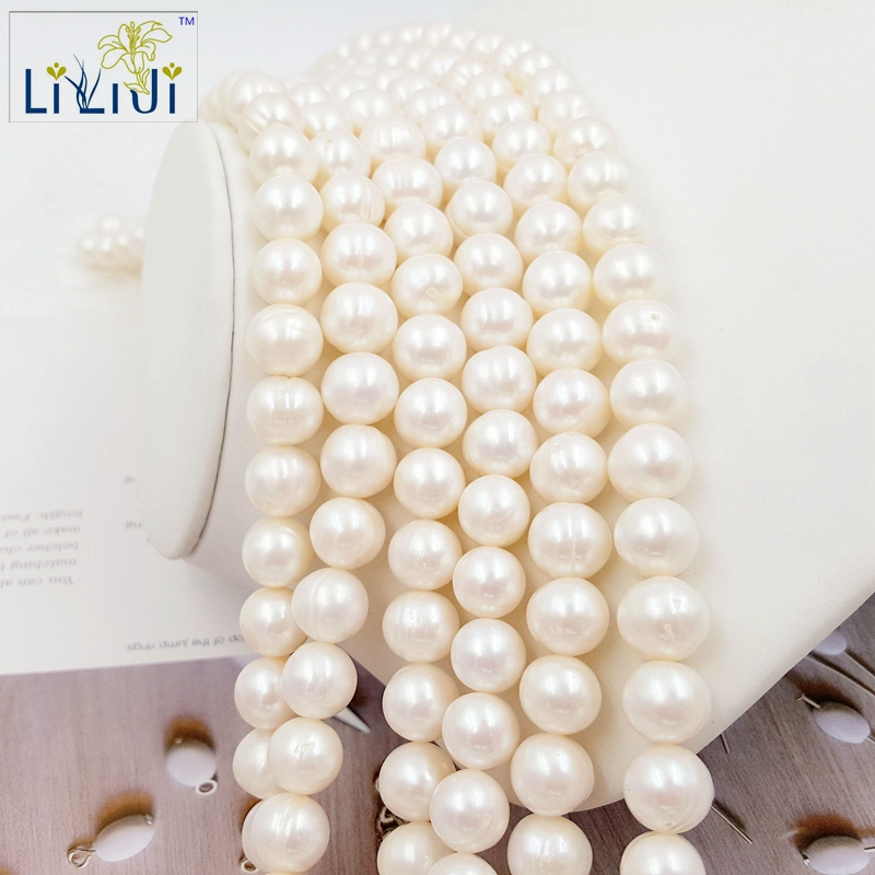 Lii Ji Natural 5 Color can choose Freshwater Pearl beads 11-12mm round Round shape for DIY Bracelet Necklaceabout 39cm