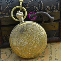 Wholesale Price Good Quality New Retro Vintage Classic Flower Pattern Bronze Copper Brass Mechanical Pocket Watch