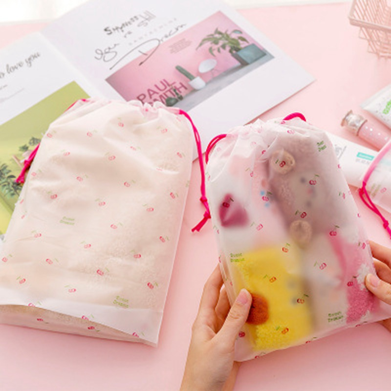 Travel Transparent Scrub Cherry Cosmetic Makeup Bag Case Women Zipper Make Up Bath Organizer Storage Pouch Toiletry Wash Kit
