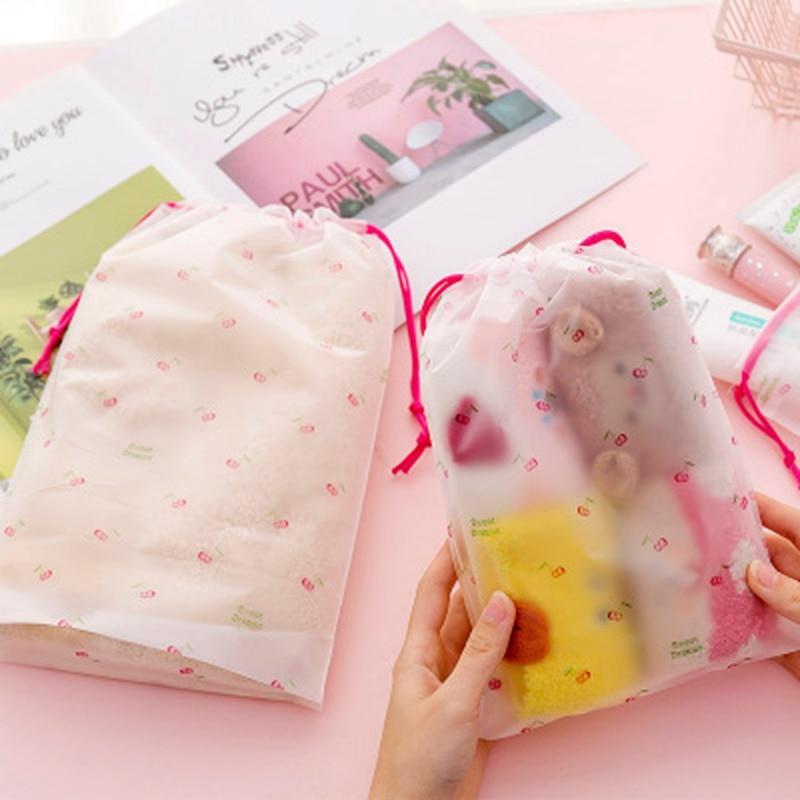 Travel Transparent Scrub Cherry Cosmetic Makeup Bag Case Women Zipper Make Up Bath Organizer Storage Pouch Toiletry Wash Kit
