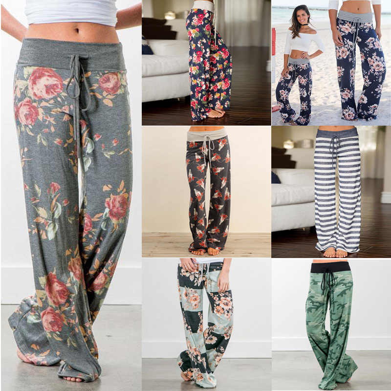 Spring autumn Women Long Pants Loose Floral Print Drawstring Lace Camouflage stripe Wave point Sweatpants Female Plus Size pant