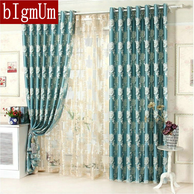 Jacquard Floral Curtains For Bedroom Blackout Nice Pattern Luxury Blue /  Brown / Yellow Window Treatment
