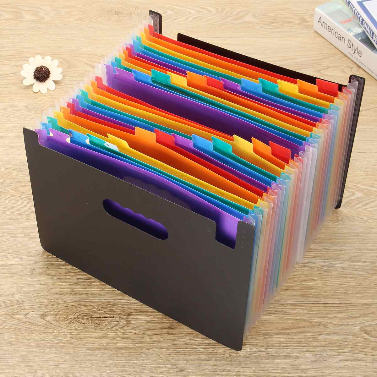 Expanding File Folder A4 Organizer Portable Rainbow Organ Business File Document Holder Storage Bag 24 Pockets