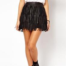 Summer Style Skirts Women A Line Fringe New 2016 Tassel Black PU Leather Woman Fashion High