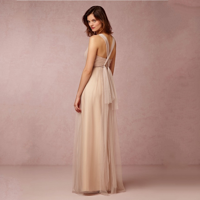 2017 Dreamy Net Vintage Bridesmaid Dresses Long Champagne Wedding Guest Dress Vestido De Madrinha Casamento Longo In From Weddings