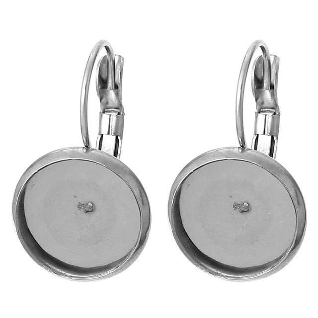 Doreenbeads Stainless Steel Lever Back Clips Earring Findings Dull Silver Color Cabochon Settings Fits 12mm