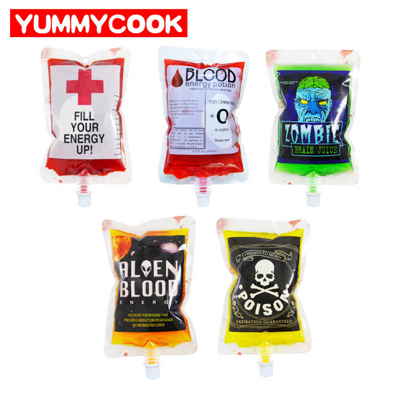 20Pcs Zombie Halloween Decoration Vampire Blood Bags Reusable Juice Drink Pouch Party DIY Decorations Accessories Supplies Stuff