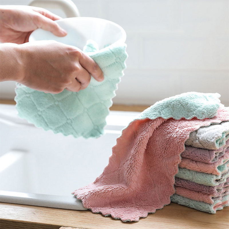 27*16cm Super Absorbent Microfiber Towel Cloth Kitchen Towels Dishcloths Dish Cloth Cleaning Rags Washing Household Tableware(China)