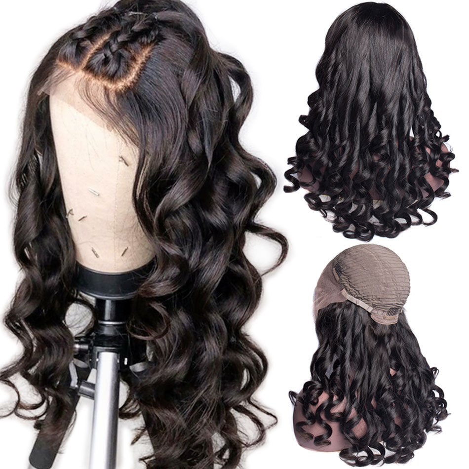 ALIBELE Peruvian Loose Wave Wig 150 Density 13x4 Lace Front Human Hair Wigs For Black Women