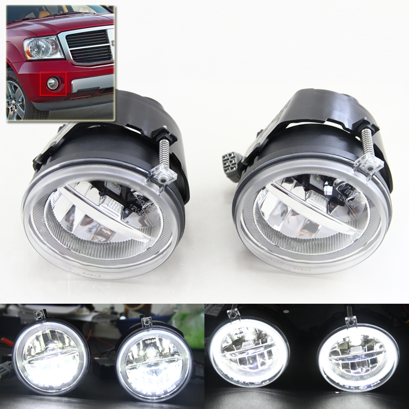 Brand New Auto Car Front Fog Light Assembly Kits W/ DRL Rings For Dodge Durango 07-09 Dakota 05-09 For Jeep Grand Cherokee 05-10 цена