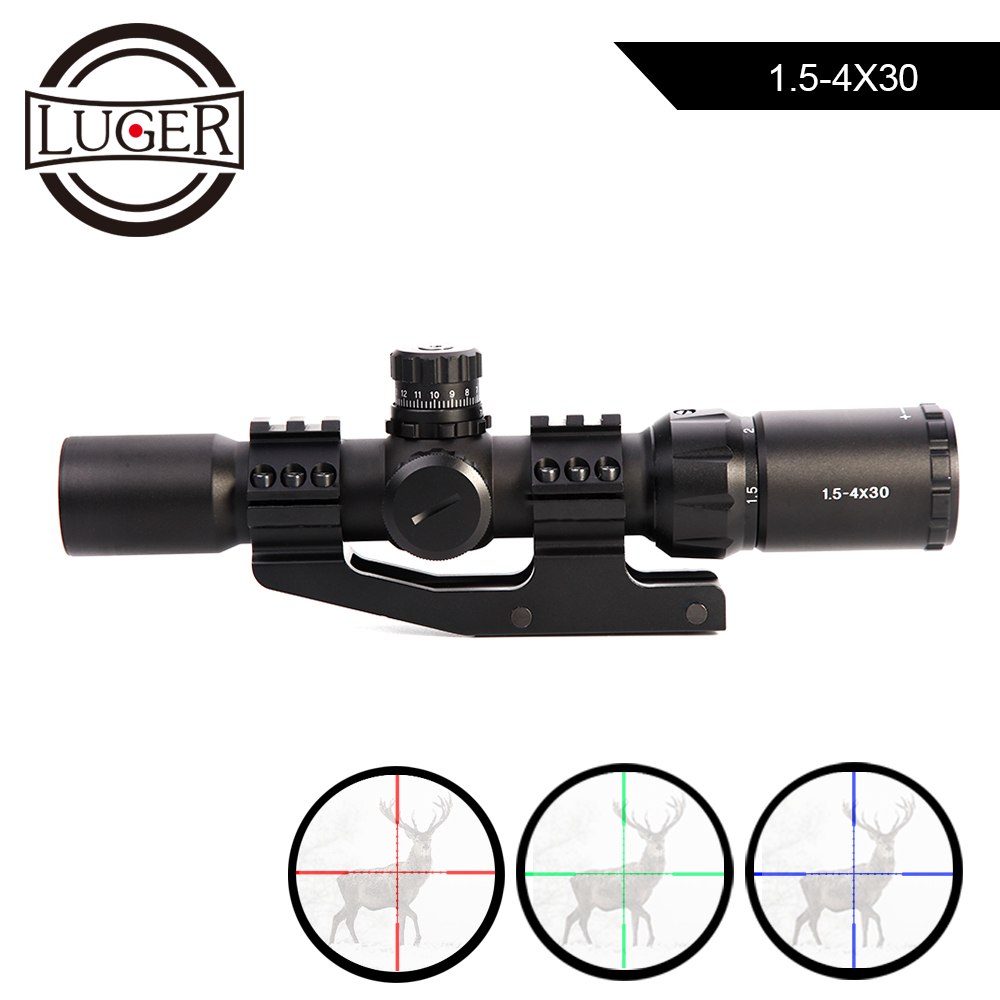 LUGER 1.5-4x30 Tactical Optical Riflescope RGB illuminated Mil-dot Reticle With Offset Weaver Mount Hunting Scopes Fit VEG47 T15
