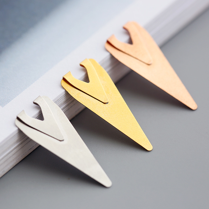 Brief Style Metal Paper Clip Bookmark Books Mark Clips Teacher Gift School Office Supplies Stationery Student Colors 3 Pcs/pack
